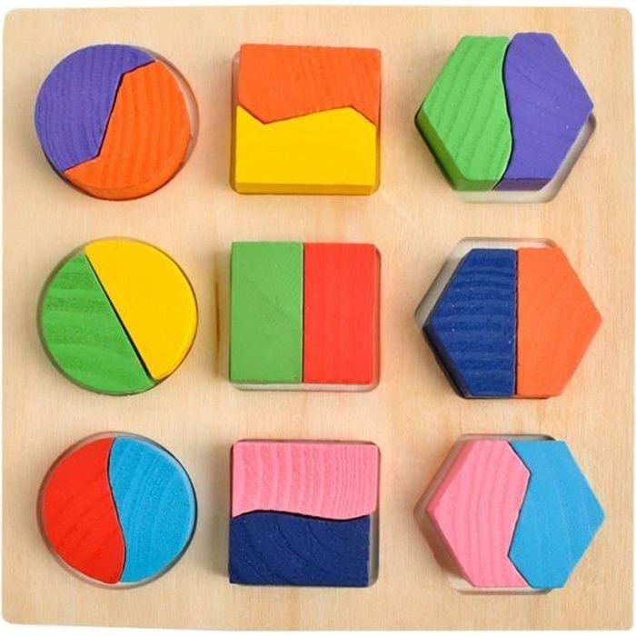MonMobilierDesign Puzzle 3D Montessori en bois, formes géométriques colorées