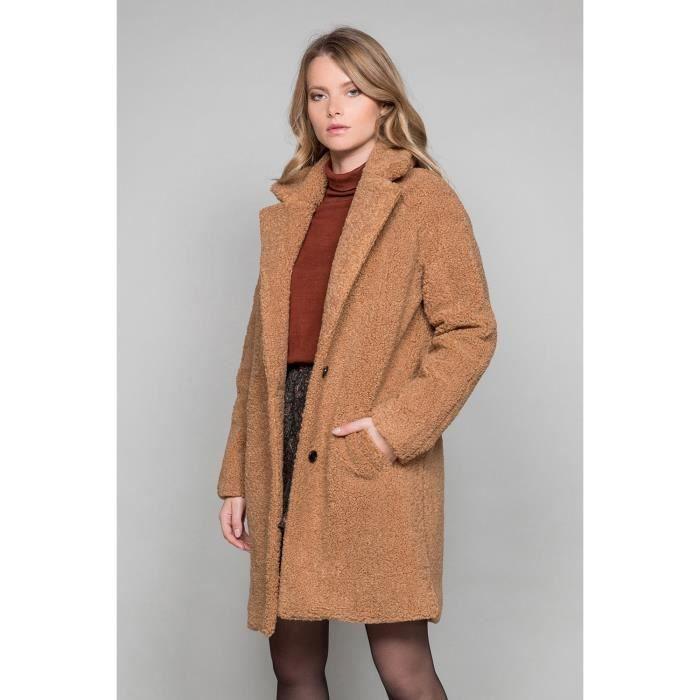 Manteau oversize à bouclettes MILDA - Couleur - Camel, Taille - L