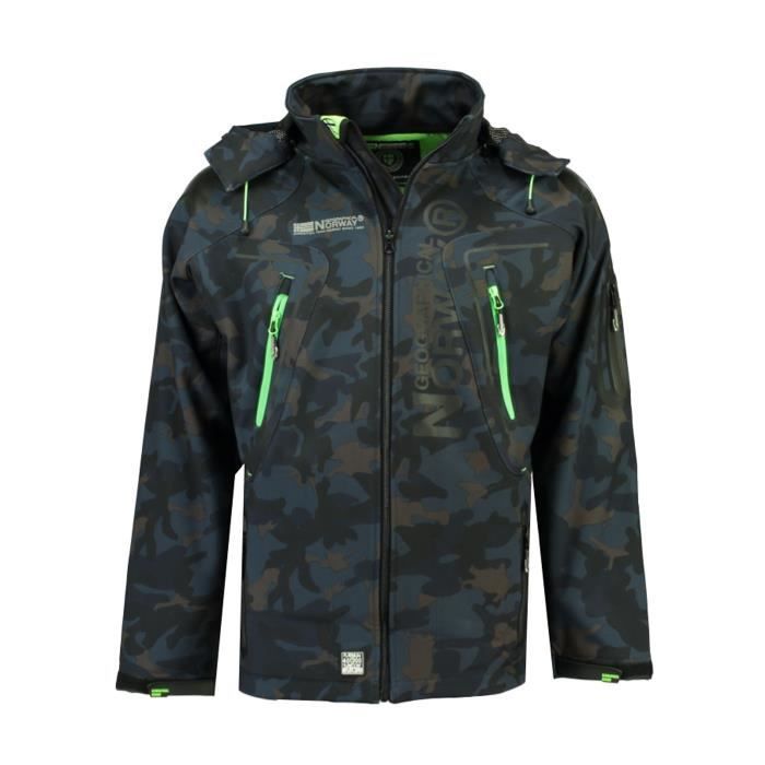 Softshell Homme Geographical Norway Techno Camo New Marine et Vert