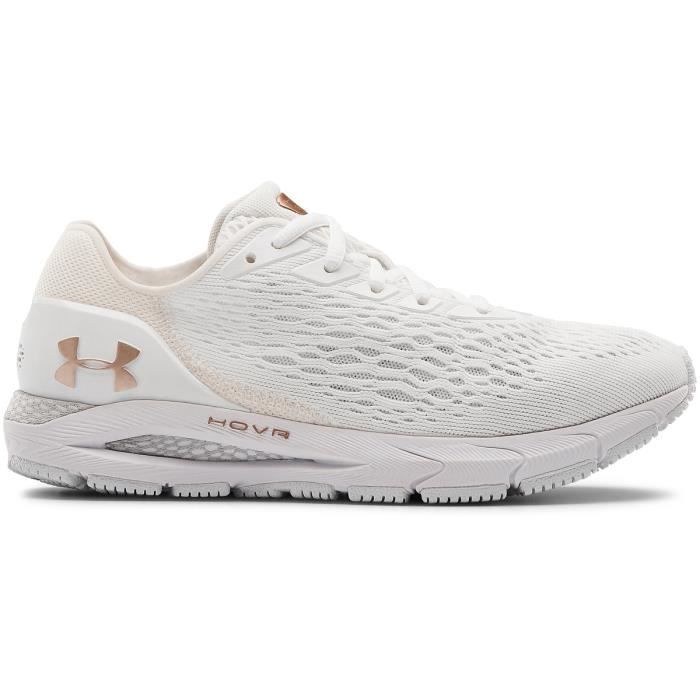 Chaussures de running de running femme Under Armour HOVR Sonic 3 Metallic - blanc/rose métallique/blanc - 37,5