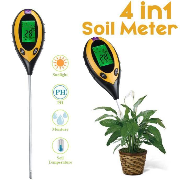 4 en1 Testeur de PH numérique Température du sol Humidimètre Lumière du soleil