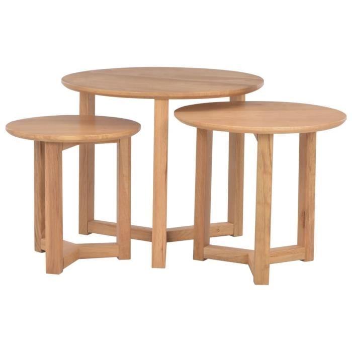 Tables basses 3 pcs Bois de chêne solide