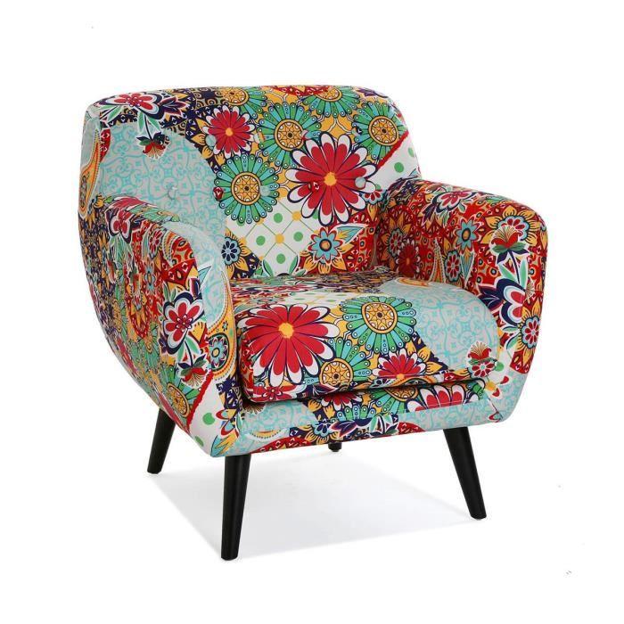 Fauteuil en coton multicolore motif fleurs - L 68 x l 63 x H 76 cm