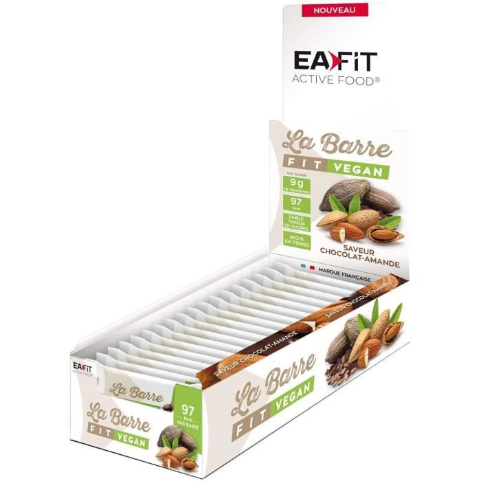 EAFIT La Barre Fit Vegan Chocolat, amande - Présentoir x32 barres 28 g
