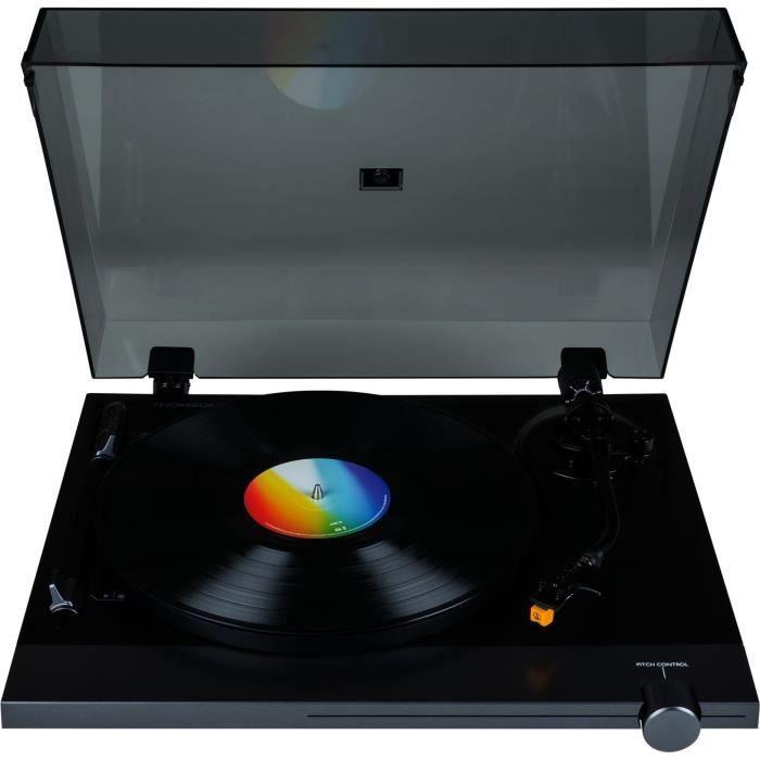 THOMSON TT700 - Platine vinyle premium 33 et 45 tours - Tête de lecture AT91 Audio Technica - Antiskating - Noire