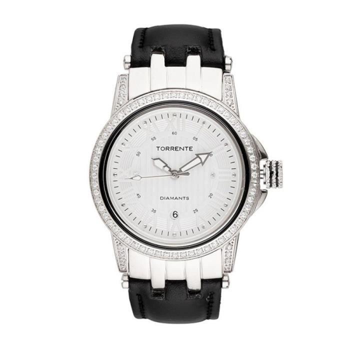 Torrente - Montre -Magnetic- Cadran Blanc - Boîtier Acier - Bracelet Cuir Noir - Diamants 0.01 carats Femme