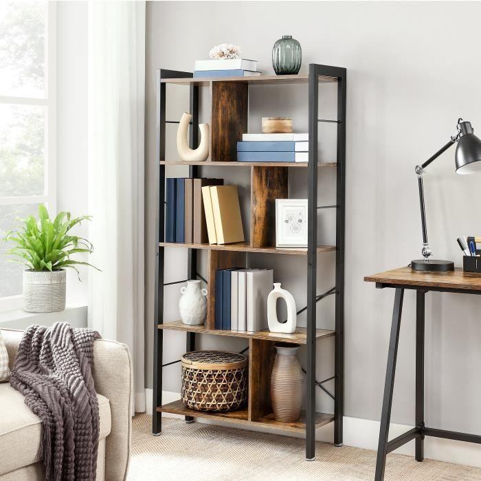 Bibliothèque style industriel 74 x 30 x 154.5 cm Étagère de rangement à 4 niveaux Meuble de rangement sur pied LBC12BX VASAGLE