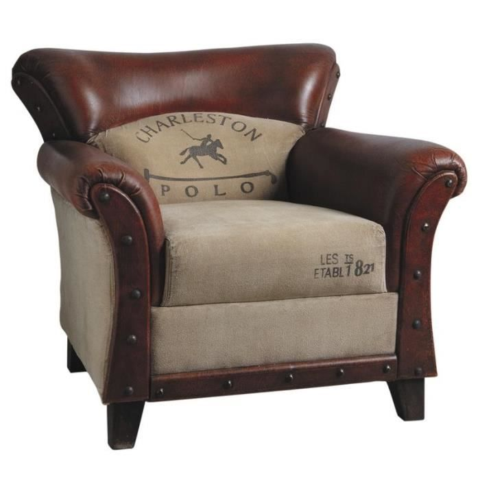 fauteuil charleston polo vintage genre fauteuil club cuir et coton achat vente fauteuil. Black Bedroom Furniture Sets. Home Design Ideas