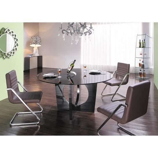 table manger ronde en verre achat vente table a. Black Bedroom Furniture Sets. Home Design Ideas
