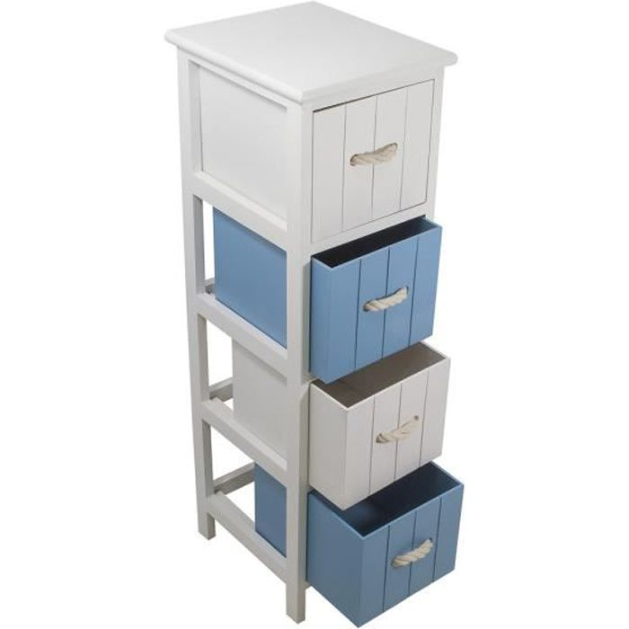 jersey meuble de salle de bain l 25 cm blanc et bleu. Black Bedroom Furniture Sets. Home Design Ideas