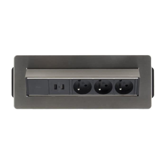 pose en angle 2 USB pour plan de travail Bloc 3 prises