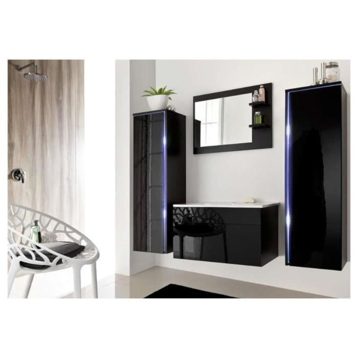 justhome dream ensemble salle de bain couleur noir laqu haute brillance achat vente salle. Black Bedroom Furniture Sets. Home Design Ideas