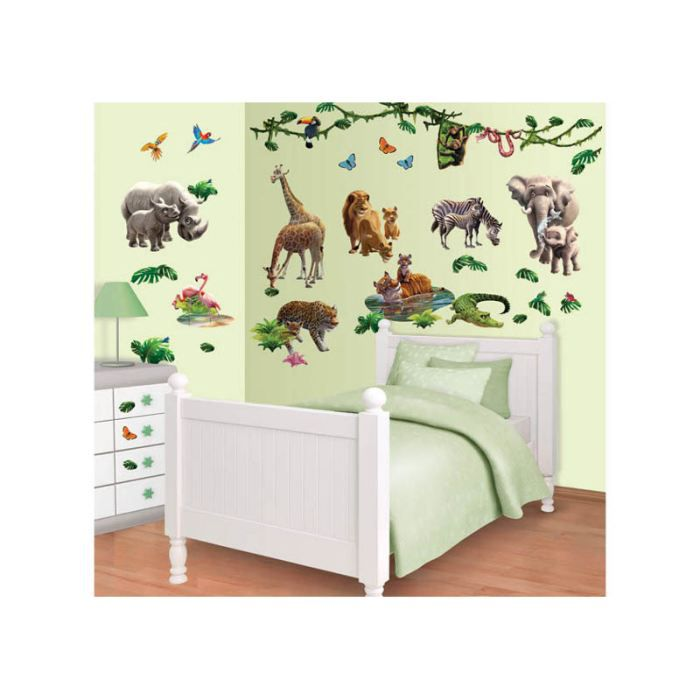 Stickers le monde de la jungle walltastic achat vente stickers cdiscount for Chambre jungle cdiscount