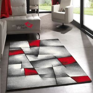 tapis salon rouge et gris achat vente tapis salon rouge et gris pas cher soldes d s le 10. Black Bedroom Furniture Sets. Home Design Ideas