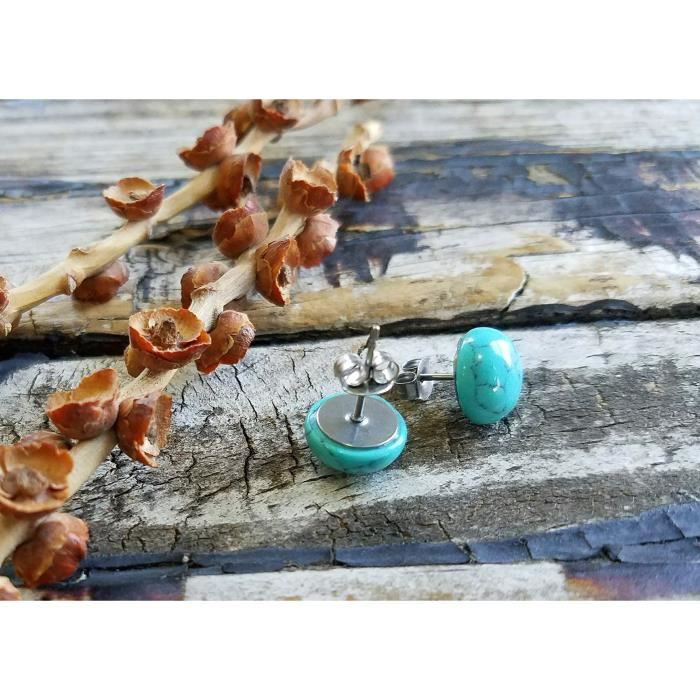 Womens 10mm . Turquoise Howlite Earrings . Surgical Steel Studs . Hypoallergenic Posts . Gift ForV8SII