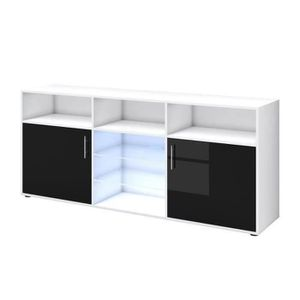 BUFFET - BAHUT  KORA Buffet bas avec LED contemporain noir brillan