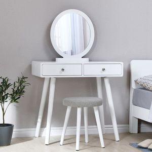 Coiffeuse design miroir rond