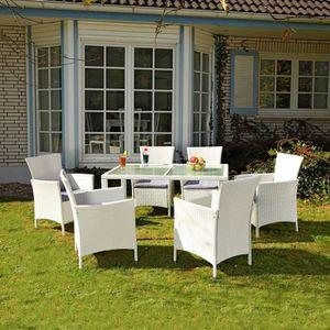 Salon de jardin blanc - Achat / Vente ensemble table et ...