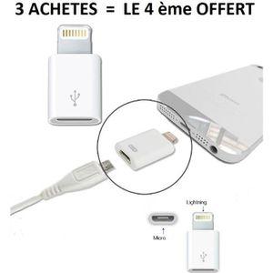 CÂBLE TV - VIDÉO - SON Adaptateur Apple lightning vers micro USB iphone i