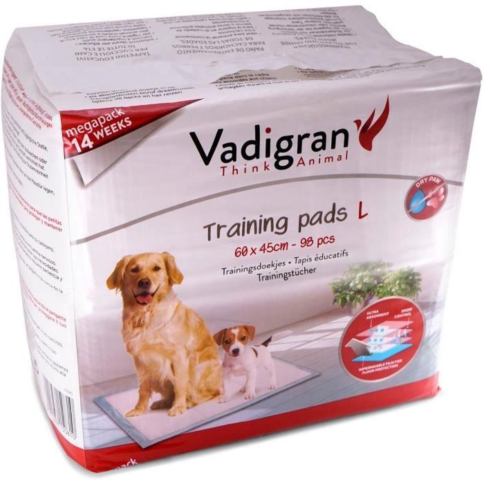 VADIGRAN Tapis éducateurs 98pcs - 60x45 cm - Blanc - Pour chien
