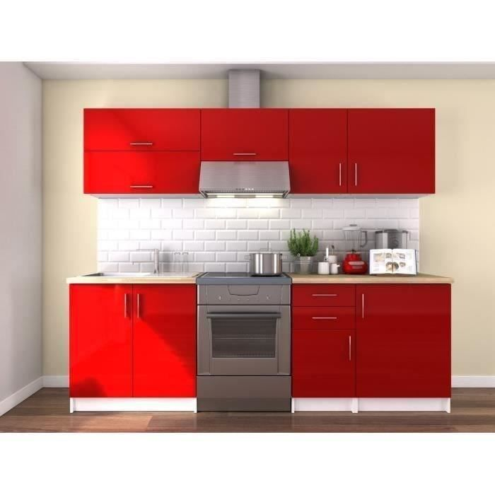 obi cuisine compl te l 2m40 rouge laqu brillant achat. Black Bedroom Furniture Sets. Home Design Ideas