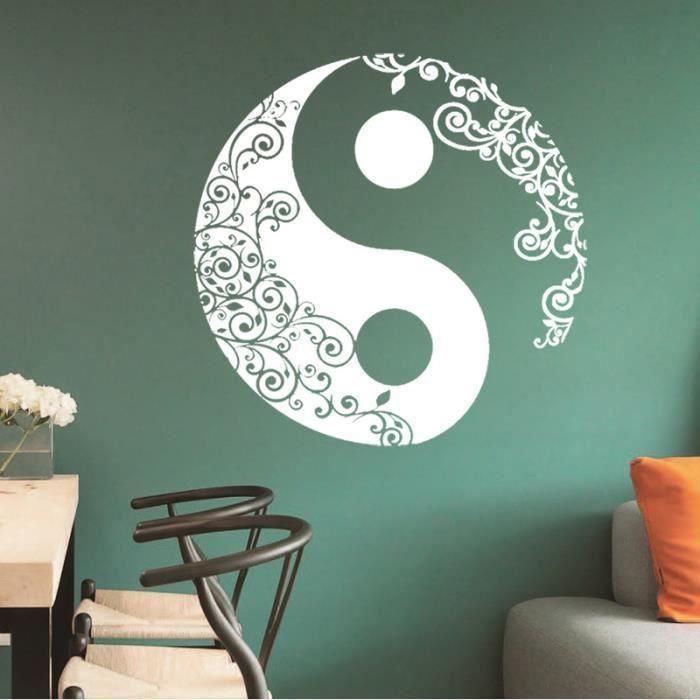 Sticker Décoration murale Salon Chambre blanc trigram yin et yang Vigne de fleur Art déco 57×57cm-,-isCdav-:false,-price-:12.99,-p