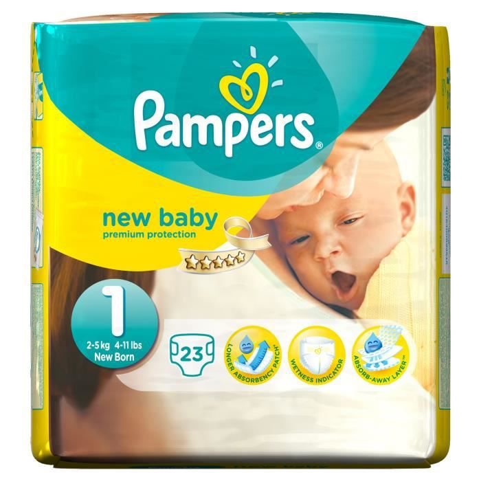 pampers new baby taille 1 2 5kg 23 couches achat. Black Bedroom Furniture Sets. Home Design Ideas