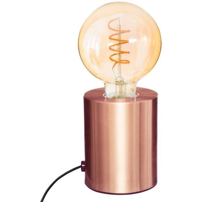 Lampe tube - 9 x 10,5 cm - Métal - Cuivre 9 cm Orange