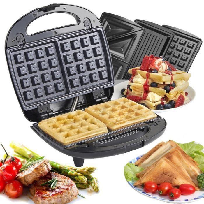 Gaufrier électrique multifunction 3en1 Plaques de cuission Waffles Grill Appareil croque monsieur puissance 700W VINTEKY®