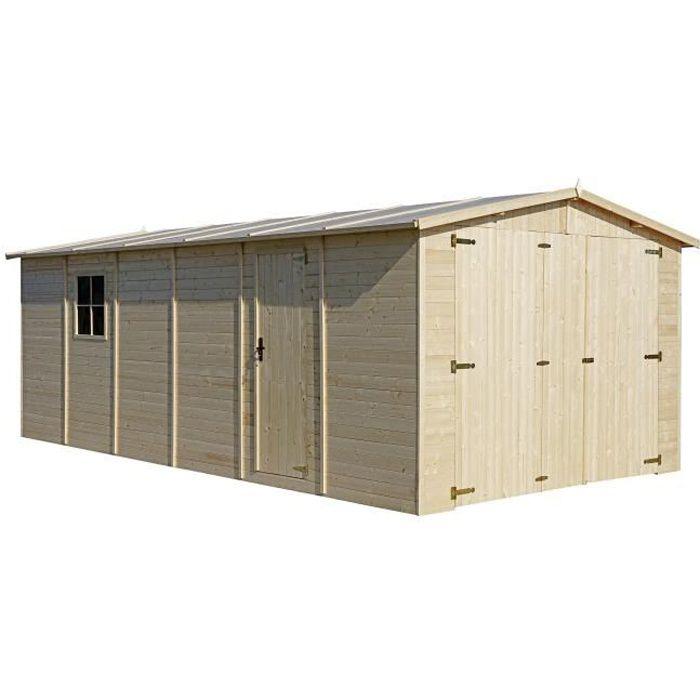 GARAGE en bois Exterieur - Chalet en Pin / épicéa- 616 x 324 cm/ 18 m² Rangement pour vélos, remise à outils-TIMBELA M102