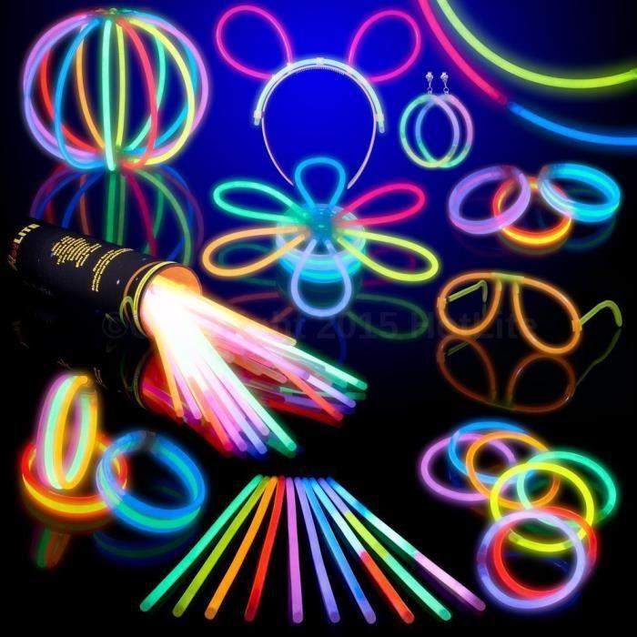 Lot de 100 bracelets fluorescents lumineux Glow - Couleurs assorties: Luminaires et Eclairage