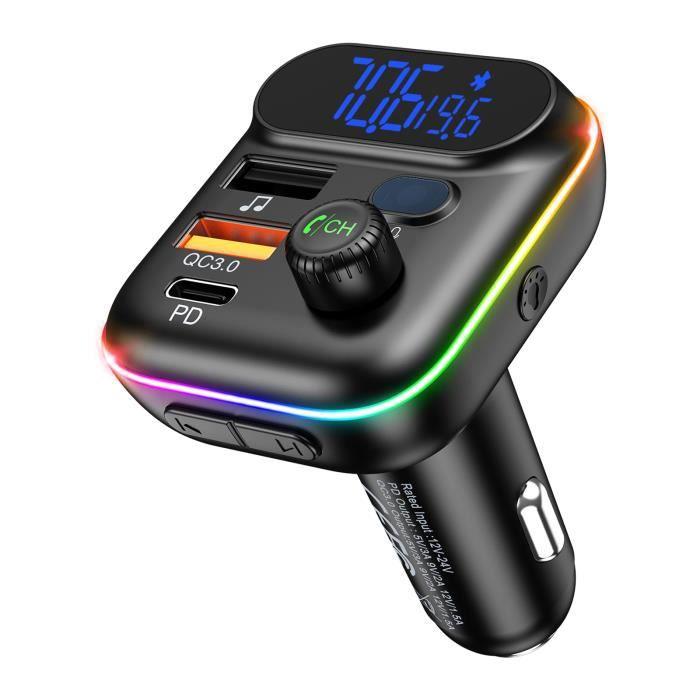 Chargeur allume cigare voiture, ports de chargement USB doubles, appel mains libres, lecteur de musique - Bleu