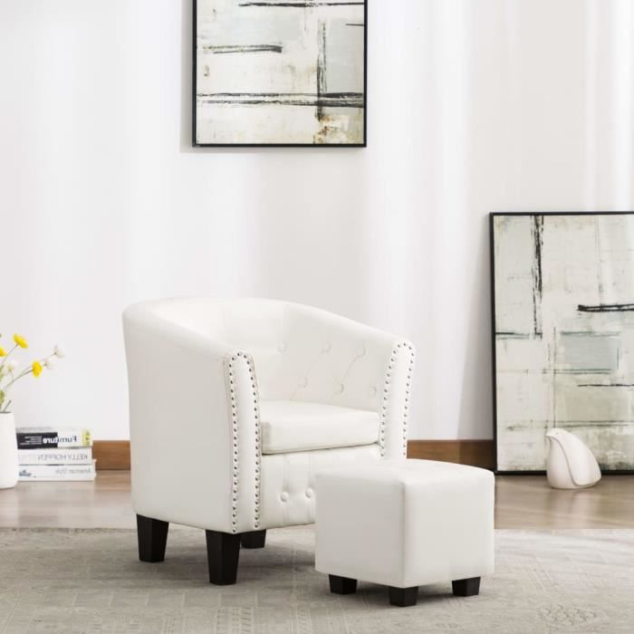 Fauteuil chesterfield avec repose-pied Blanc Similicuir