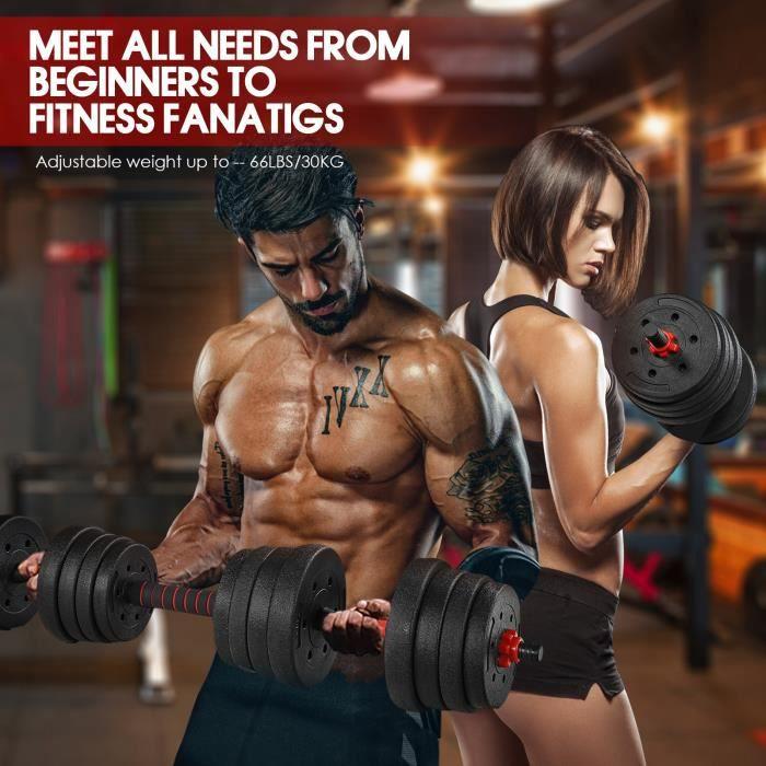 Lot d'haltères 30kg musculation réglables – poids musculation - Haltère domestique Poids Ajustable
