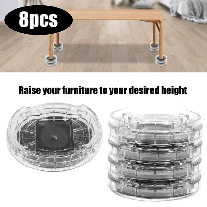 8Pcs multi-slot support de meubles Riser Pieds des meubles rehausseur de lit - table en plastique - BOH