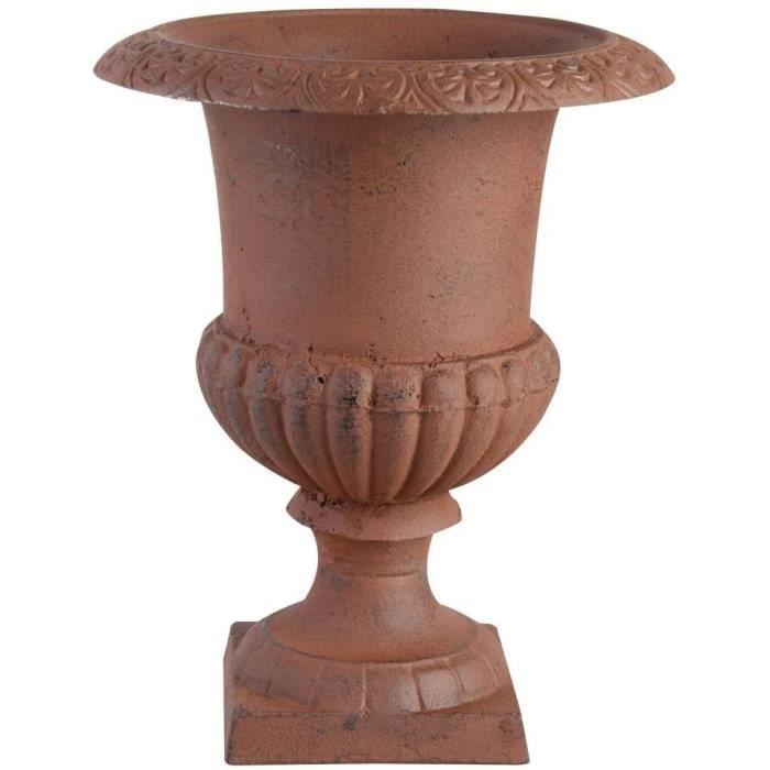 Vases et vasques à plantes Esschert Design XH63-AR - Vase Médicis en fonte,marron,17,3 x 17,3 x 23,1cm 165375