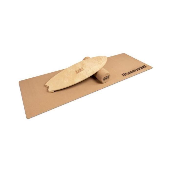 BoarderKING - Kit Indoorboard Wave : planche d'équilibre + tapis + rouleau - Bois-liège naturel