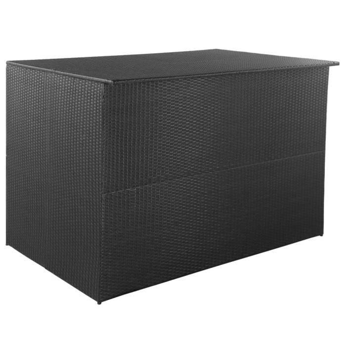 Boîte de rangement de jardin COFFRE D'EXTERIEUR Noir 150x100x100 cm Résine tressée