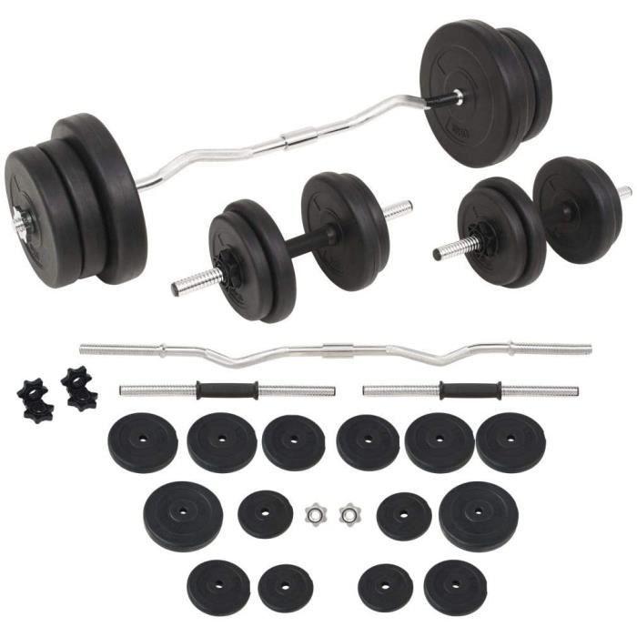 vidaXL Haltères et Barres d'Haltères 60 kg Disques Poids Musculation Fitness57