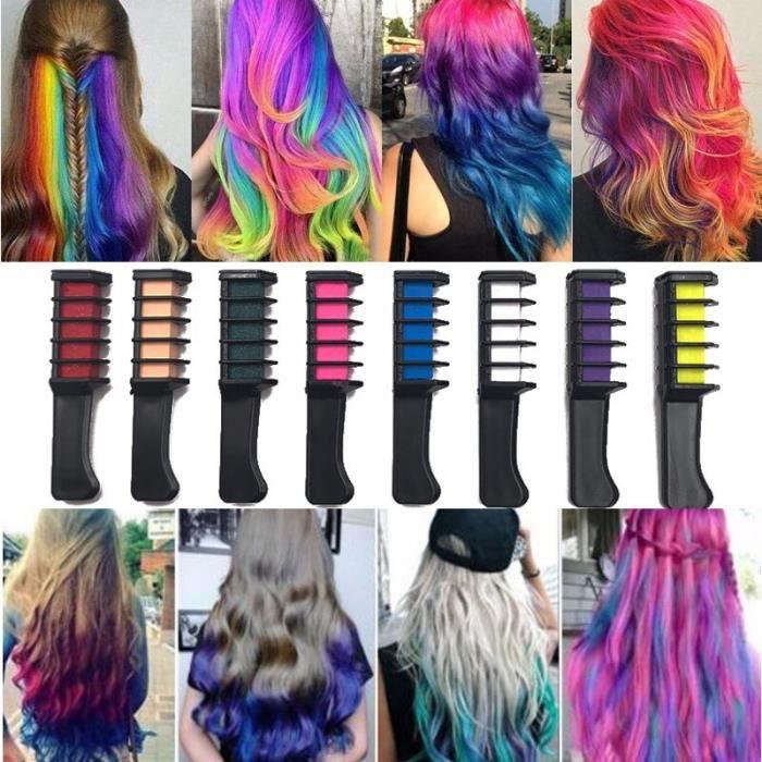 Professionnel 10 couleurs Mini temporaire teinture pour les cheveux jetable personnel Salon utiliser Crayons o DY9624
