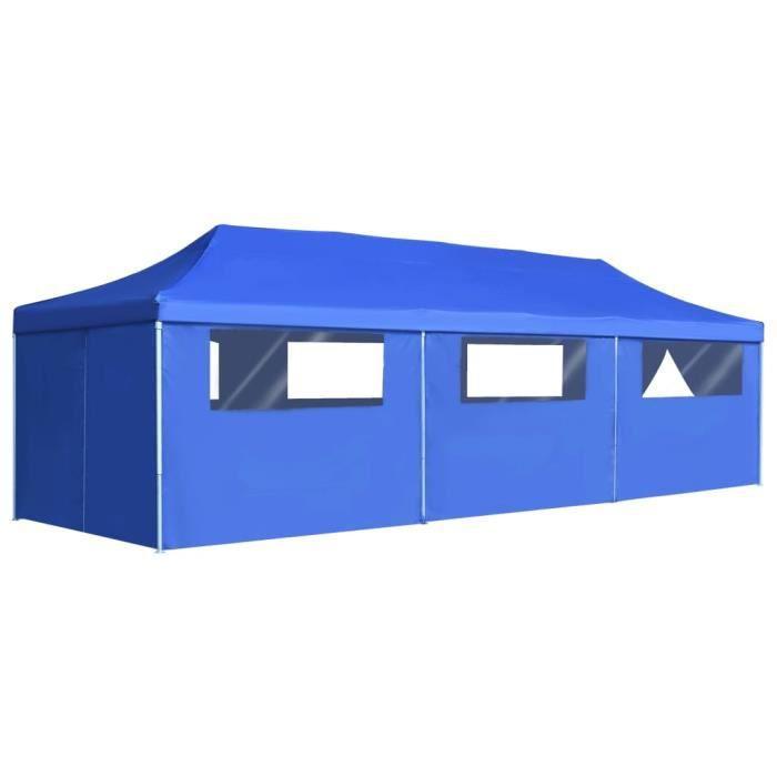 Chic© Tonnelle de jardin Tente de réception - Tonnelle Barnum Barnum avec 8 parois 3x9 m Bleu #71306