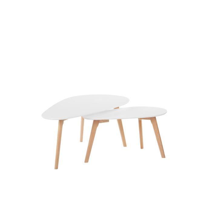 Lot de 2 tables basses blanches et bois clair FLY III