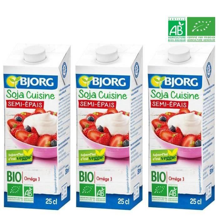 [LOT DE 3] BJORG Soja Cuisine Semi Epais Bio 25cl