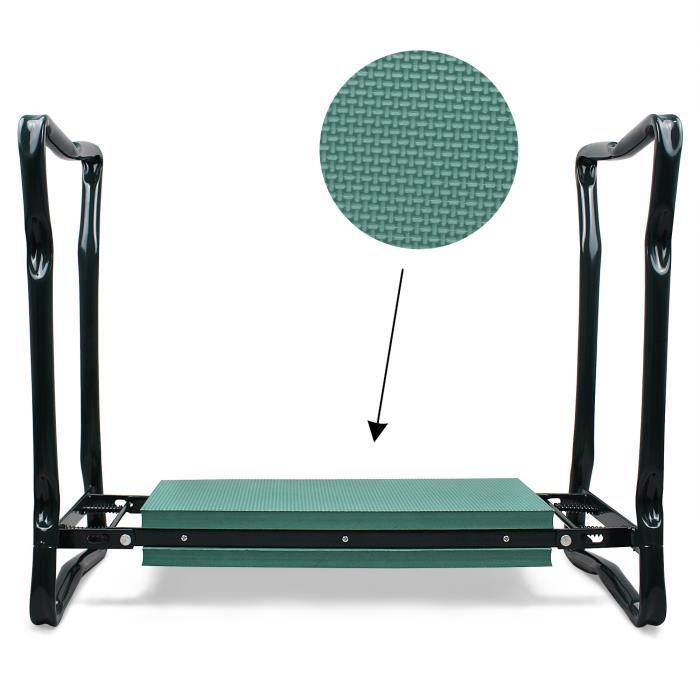 Banc Agenouilloir de Jardin, Siège de Jardin Pliable, Vert, Taille déployée: 62 x 48 x 28 cm
