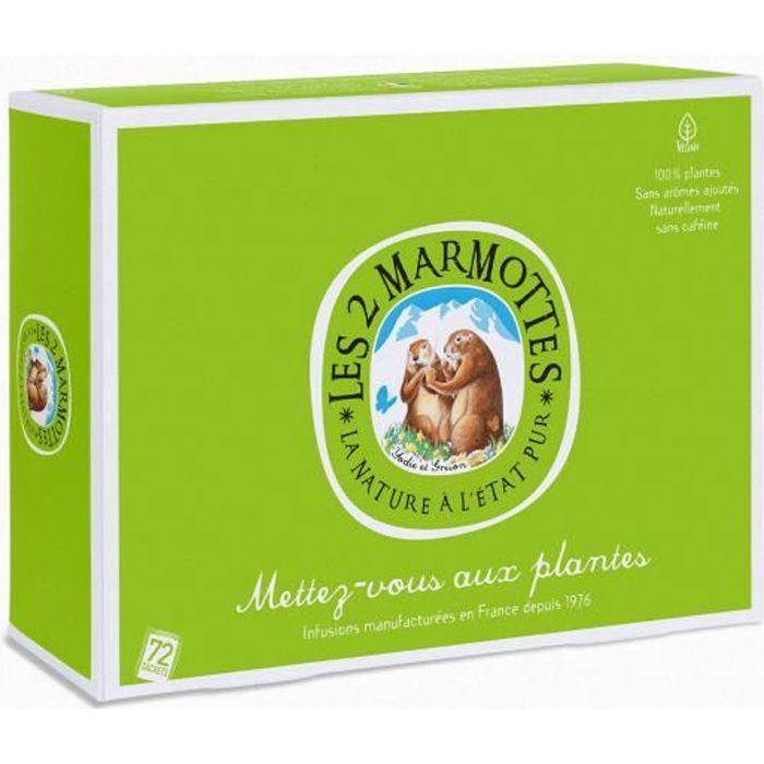 Les 2 Marmottes - Coffret -Mettez-vous Aux Plantes- - dégustation Infusions 72 Sachets - Made In France - Jamais d'arômes ajoutés
