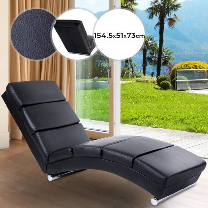 MIADOMODO® Chaise Longue de Relaxation - Ergonomique, Simili Cuir, Noir, 154.5x51x73 cm - Fauteuil Relax Intérieur, Salon, Chambre
