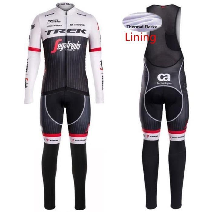 TREK Segafredo Maillot de Cyclisme Hiver Thermique Fleece longues Manches + Pantalons à Bretelle Homme Vélo Selle de Silicone.XS-3XL