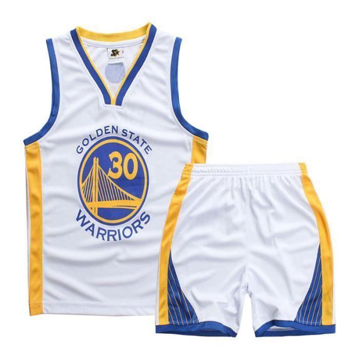 Maillot et Shorts de basketball CURRY Warriors GSW- Enfant garçon - Blanc