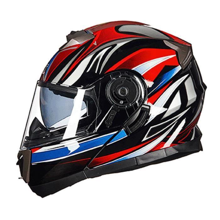 Casque Moto Unisexe de Marque luxe Casque moto Double lentille de anti-poussière casque intégral de la personnalité