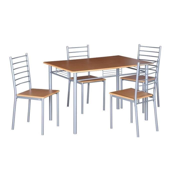 Table de cuisine et salle à manger + 4 chaises ANKARA coloris bois nature. Ensemble repas design métal et bois Wengé Naturel Et Gris